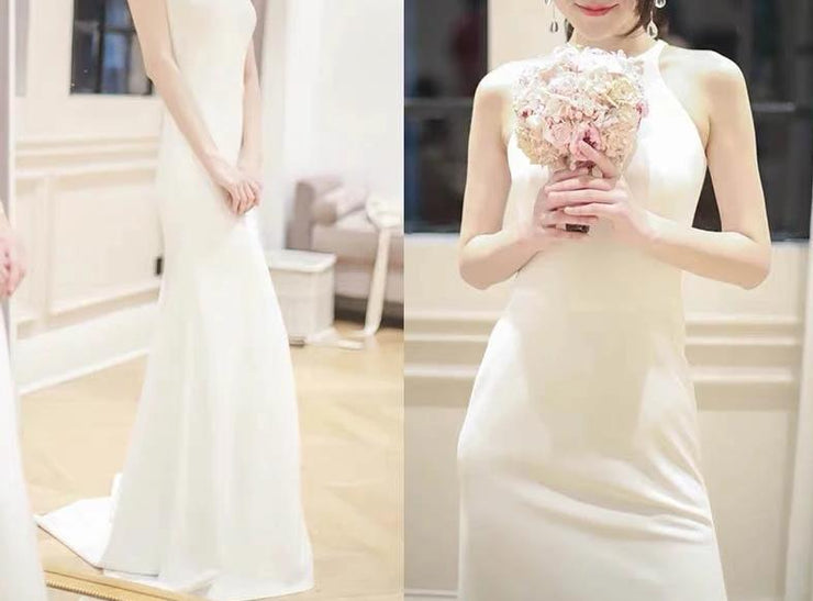 Round Neck Sleeveless Mermaid Wedding Dress