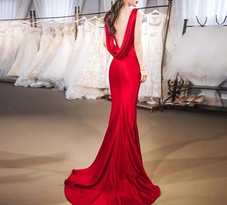 Sexy Back Red Mermaid Wedding Dress