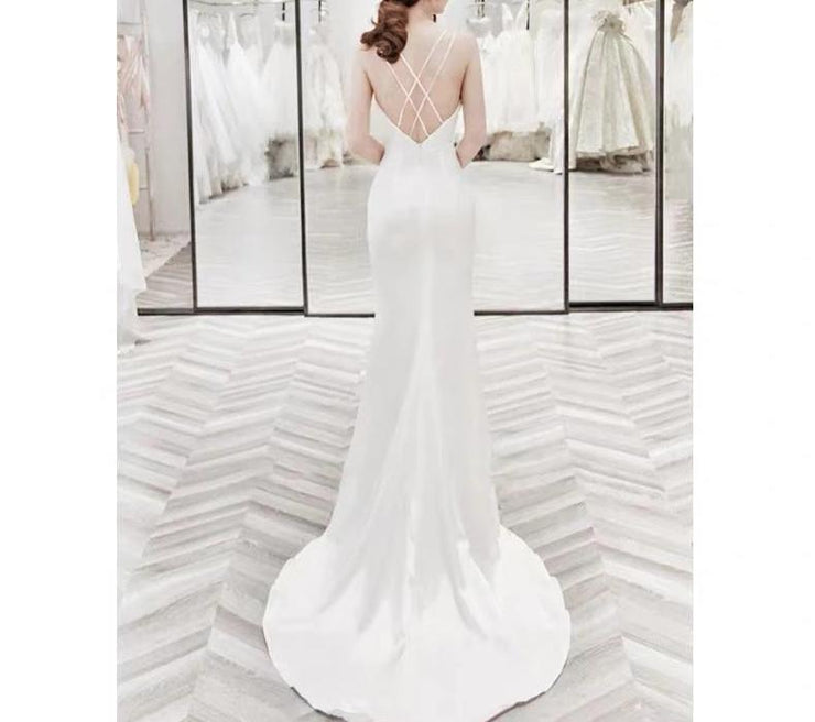 Sexy-Cross-Back Design Mermaid Wedding Dress Sleeveless