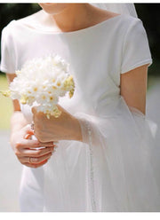 Plain Short-Sleeve Mermaid Wedding Dress