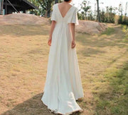 Butterfly Sleeves V-neck Mermaid Wedding Dress With Front Slit