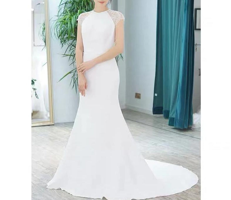 Lace Short Sleeves Mermaid Wedding Dress With Sexy Backless Design