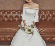 Off-shoulder Wedding Dress With Ribbon On Butterfly Designed Sleeves