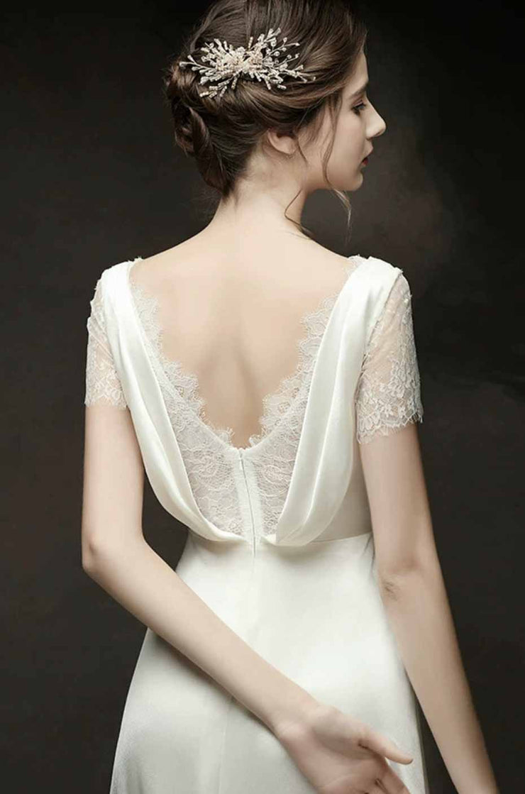 [RENT OR BUY] Custom Made Empire Waist Silk Wedding Dress with Inner and Sleeve Lace Fabric
