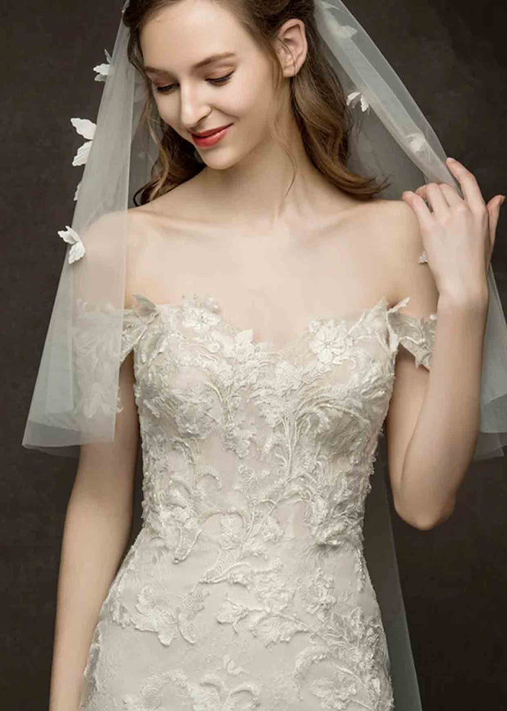 [RENT OR BUY] Custom Made Off Shoulder  Wedding Dress Trumpet Shape with Elegant Lace Design