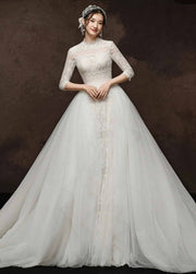 [RENT OR BUY] Custom Made Two Way Long Sleeve Wedding Dress Bohemian Lace with High Collar