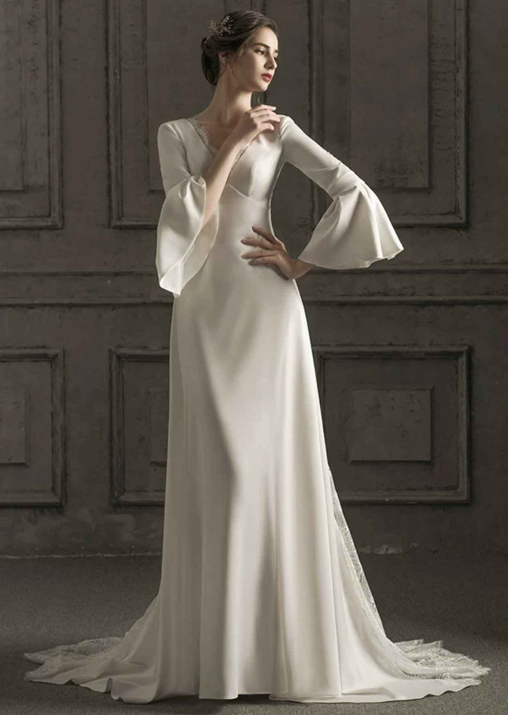[RENT OR BUY] Custom Made A-Line Shape Classic Silk Wedding Dress with Bell Sleeve and Deep Criss-Cross Back
