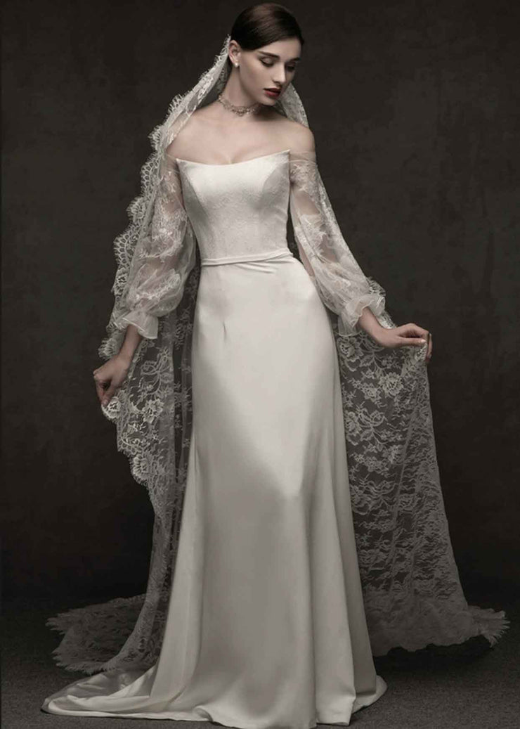 [RENT OR BUY] Custom Made Wedding Dress Off Shoulder with Lace Balloon Long Sleeve
