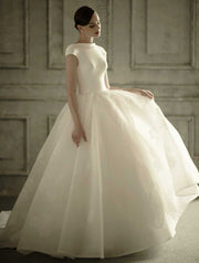 [RENT OR BUY] Custom Made Short Sleeve Wedding Dress High Neck Satin Top and Floral Lace Skirt Ball Gown with Sexy Button