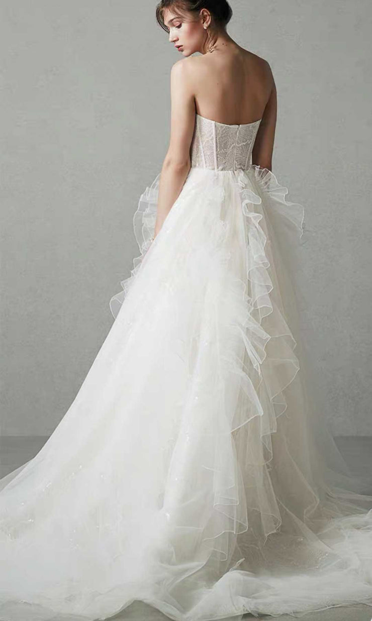 [RENT OR BUY] Custom Made Tube Tulle Wedding Dress With Ruffle Design