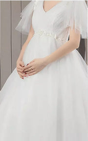 Expecting Bride Moms Floral Design Belt and Lace Sleeves for Maternity Wedding Dress