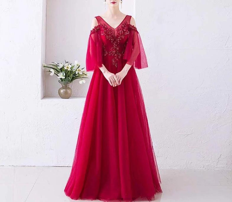 Red Maternity Evening Gown with Flutter Sleeves for Expecting Brides
