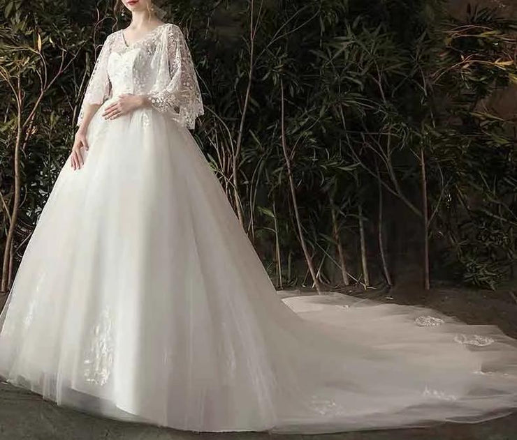 Floral Printed Lace Sleeves Maternity Long Wedding Dress Half Backless for Expecting Bride Moms