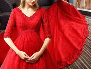 Maternity Red Evening Gown with Floral Lace Design and Quarter Sleeves for Expecting Bride Moms