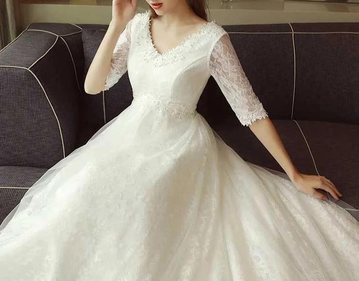 Maternity Wedding Dress with Floral Lace Design and Quarter Sleeves for Expecting Bride Moms
