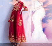 Maternity Wedding Cheongsam/Ao Dai/Qipao 旗袍/奧黛 for Expecting Bride Moms with Gold Embellishments