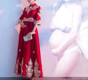 Maternity Wedding Cheongsam/Ao Dai/Qipao 旗袍/奧黛 with Gold Print for Expecting Bride Moms