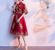 Maternity Wedding Cheongsam/Ao Dai/Qipao 旗袍/奧黛for Expecting Bride Moms with Gold Embellishments