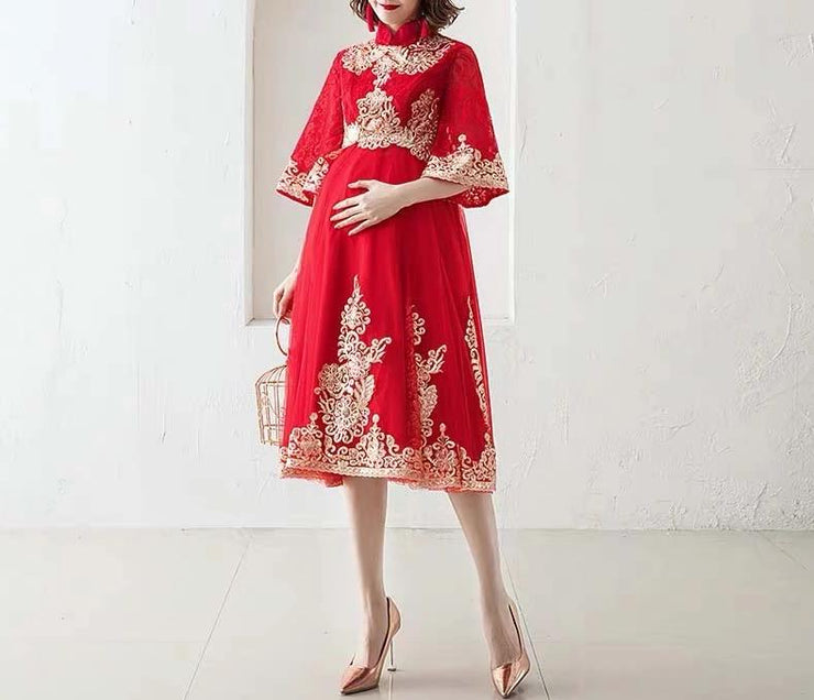 Maternity Wedding Cheongsam/Ao Dai/Qipao 旗袍/奧黛 Below the Knee for Expecting Bride Moms