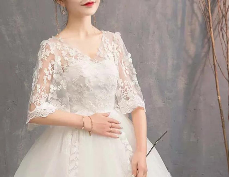 Floral Lace Design Maternity Wedding Long Dress with 3/4 Sleeves for Expecting Bride Moms