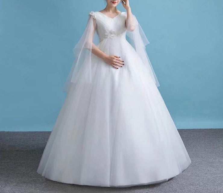 Maternity Wedding Dress with Floral Design on Front and Sleeves for Expecting Bride Moms