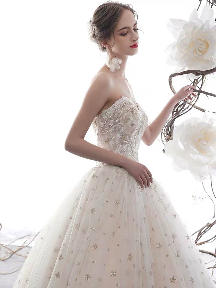 [RENT OR BUY] Custom Made Beaded Strapless A-Line Wedding Dress with Sparkly Star Design