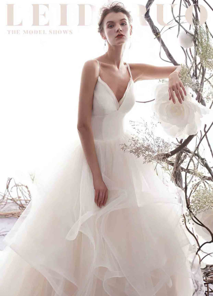 [RENT OR BUY] Custom Made Long Train Organza Layered Ruffled Skirt Wedding Dress with Criss Cross Back