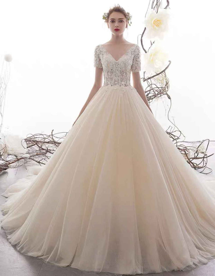 [RENT OR BUY] Custom Made Cathedral Short Sleeve V-Neck Wedding Dress with Elegant Lace