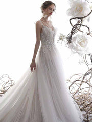 [RENT OR BUY] Custom Made Fairy Tulle Deep-V Illusion Wedding Dress with Spaghetti Strap