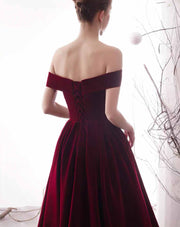 [RENT OR BUY] Custom Made Marsala Tea Length Evening Dress with Cross Off Shoulder Sleeve