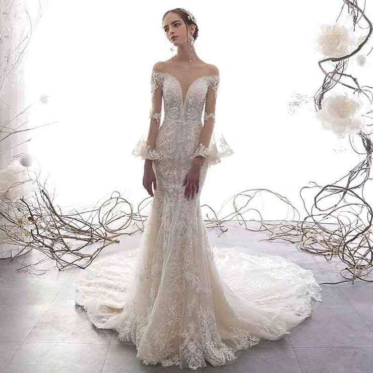 [RENT OR BUY] Custom Made Mermaid Lace Wedding Dress with Bell Sleeve and Illusion Neckline