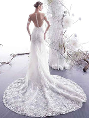 [RENT OR BUY] Custom Made Illusion Lace Longsleeve Wedding Dress with Sweep Train