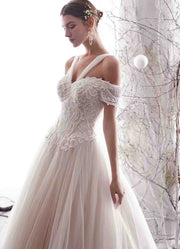 [RENT OR BUY] Custom Made Two Way Off Shoulder and Halter A-Line Tulle Wedding Dress with Top Lace Design