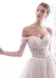 [RENT OR BUY] Custom Made  A-Line Wedding Dress with Illusion Lace Long Sleeve Off Shoulder