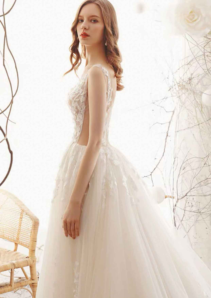 [RENT OR BUY] Custom Made  Cathedral Length Floral Lace Design Wedding Dress with Deep- V Neckline