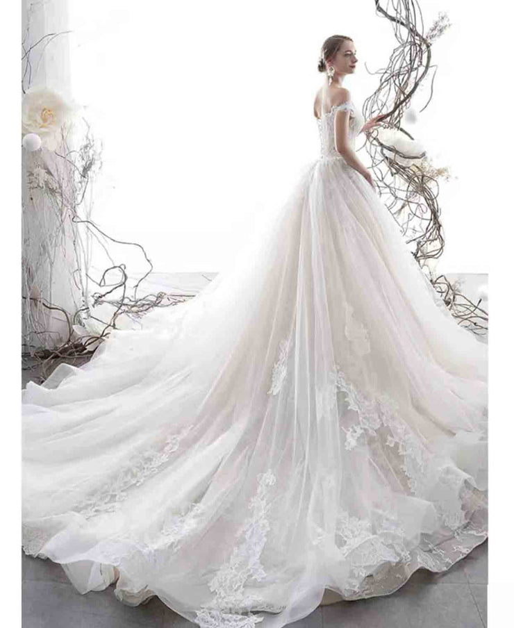 [RENT OR BUY] Custom Made Long Lace Appliques Wedding Dress Off the Shoulder Sleeve