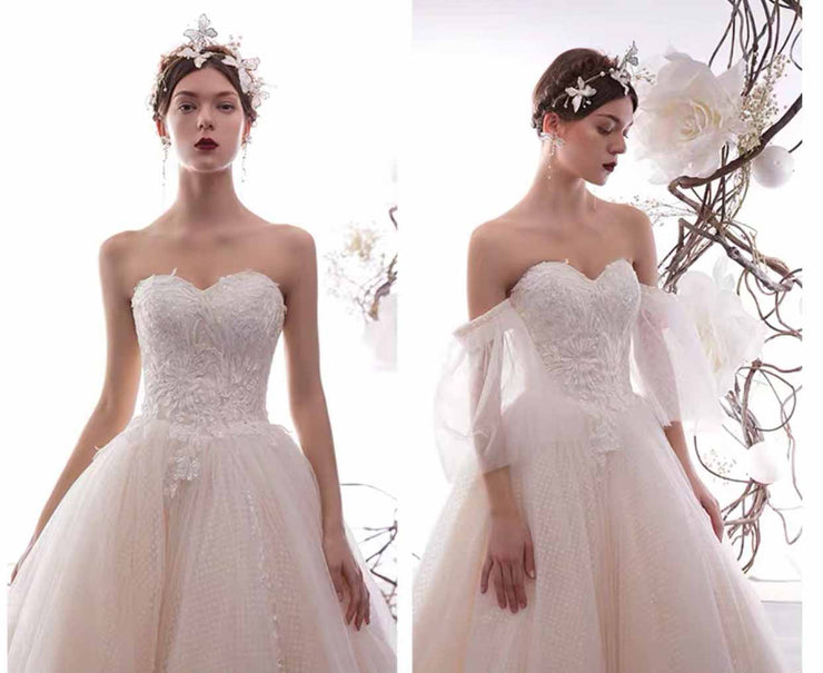 [RENT OR BUY] Custom Made Beautiful Wedding Dress with Detachable Bell Sleeve