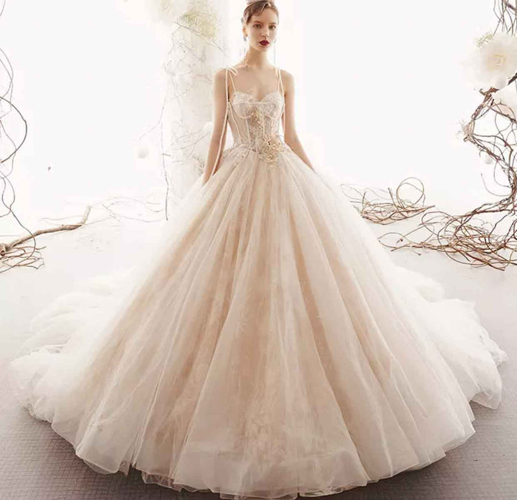 [RENT OR BUY] Custom Made Thin Strap See Through Floral Lace Top Wedding Dress with Flowy Long Monarch Train