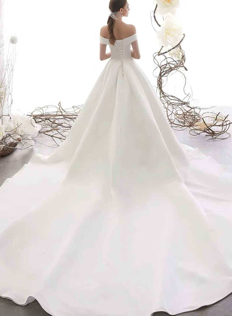 [RENT OR BUY] Custom Made Long Back  Off Shoulder Satin Ball Gown Wedding Dress