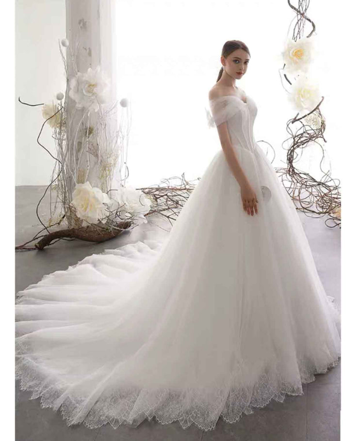 [RENT OR BUY] Custom Made Long Tulle Lace Cut Edge Wedding Dress Off Shoulder