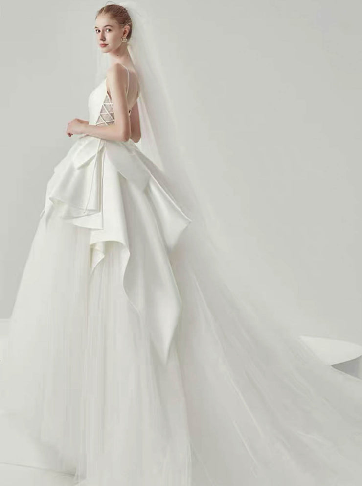 [RENT OR BUY] Custom Made Satin and Tulle Overlay Wedding Dress with Criss- Cross Side