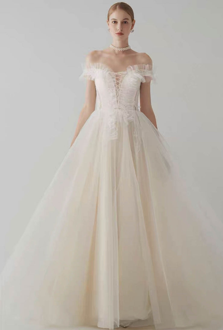 [RENT OR BUY] Custom Made Ruffled Design Off Shoulder Wedding Dress with Deep-V Criss Cross Neckline