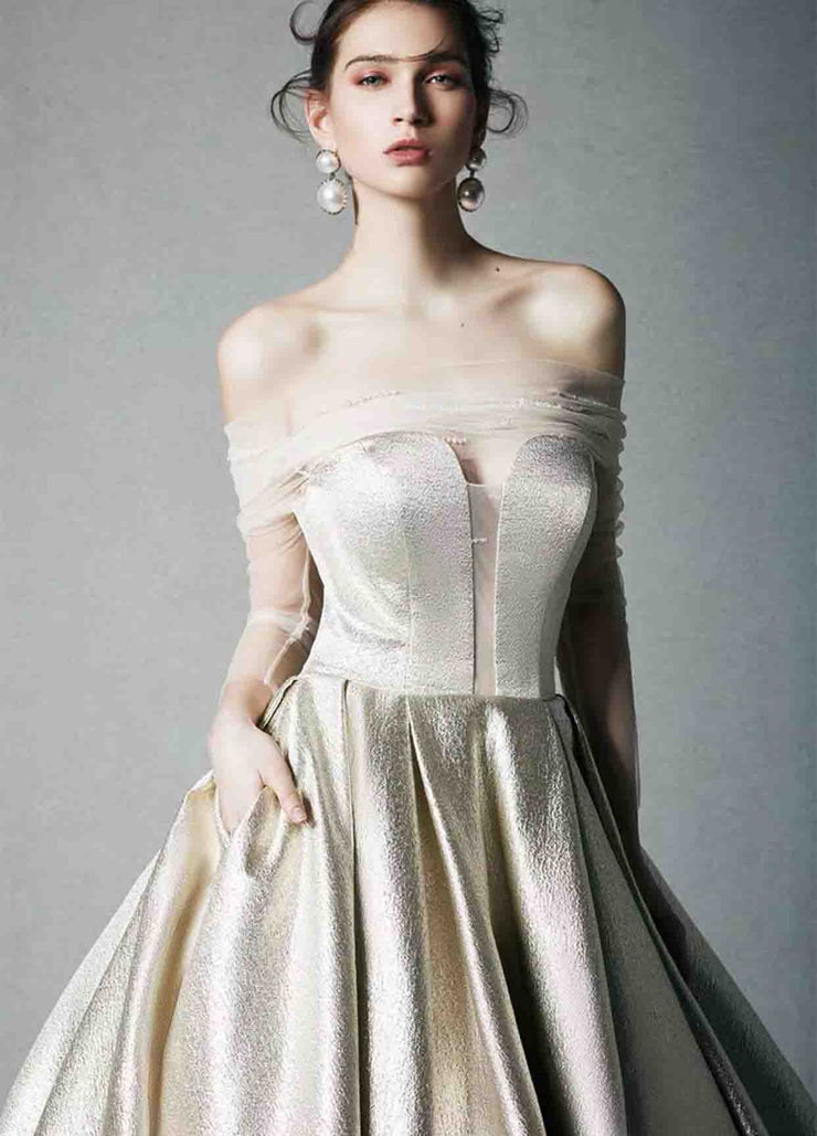 [RENT OR BUY] Custom Made Gold Evening Dress with Illusion Off Shoulder Sleeve