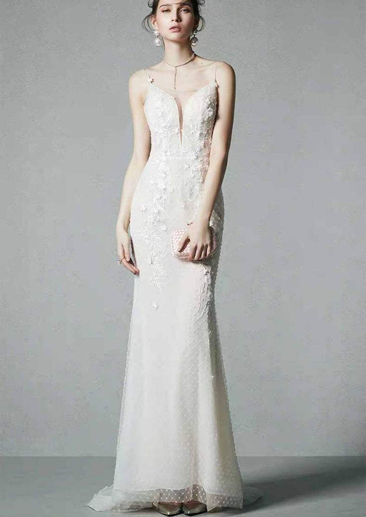 [RENT OR BUY] Custom Made Embellished Lace Perfect Fit Wedding Dress Deep Back