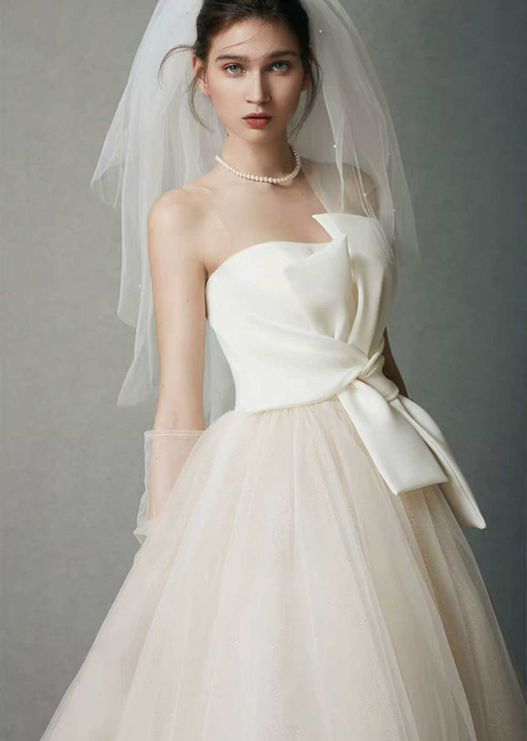 [RENT OR BUY] Custom Made Elegant Wedding Dress with Front Bow Knot Applique