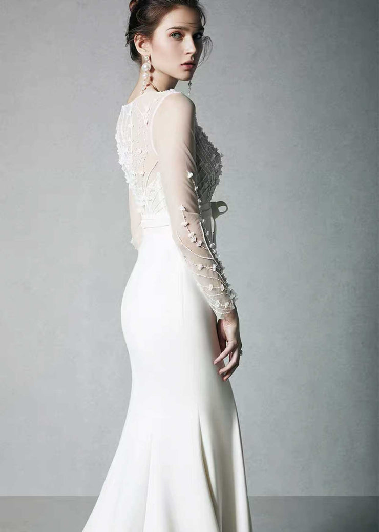 [RENT OR BUY] Custom Made Sheath Lace Embroidered Top Wedding Dress Sweep Train