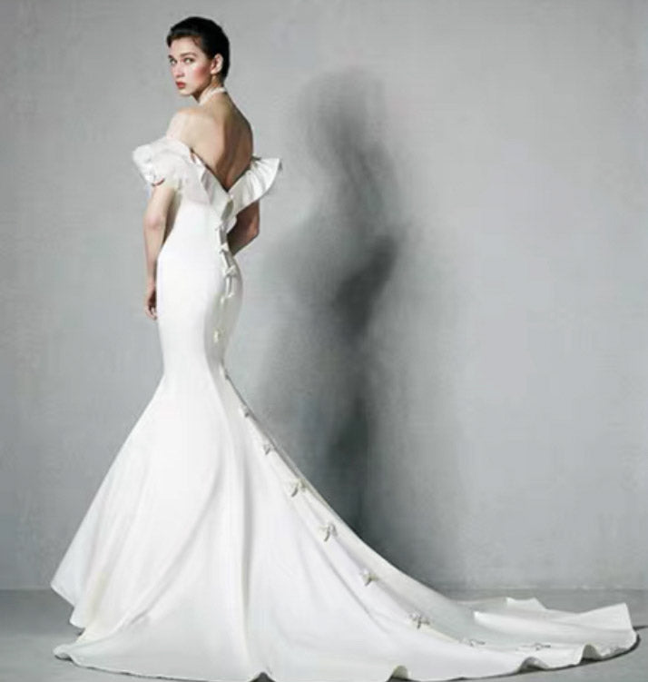 [RENT OR BUY] Custom Made Elegant Satin Mermaid Court Train Wedding Dress with Ribbon Design on Back