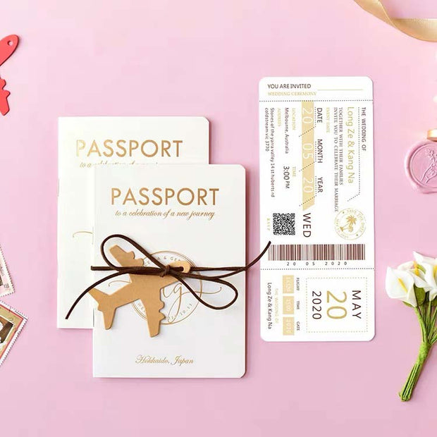 40 PCS Personal Passport & Boarding Pass Wedding Invitation Pack