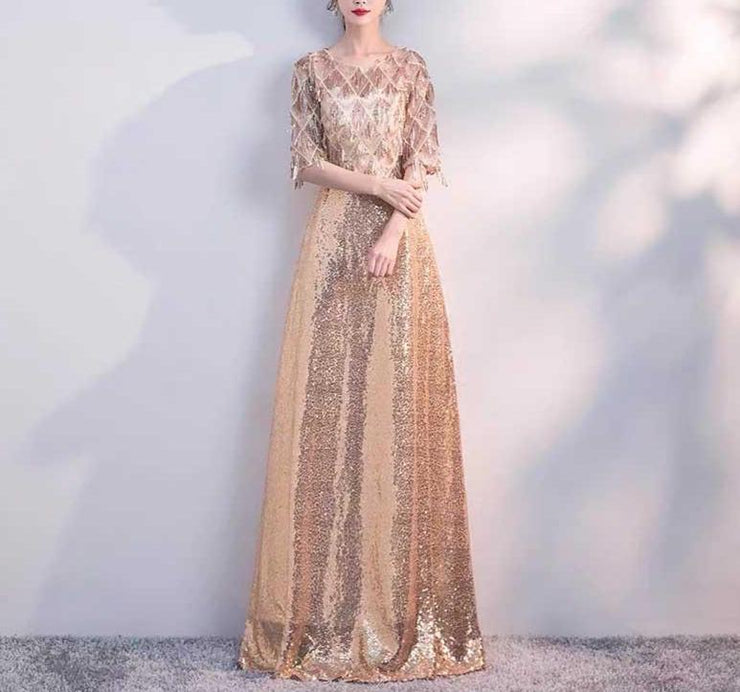 Mother of the Bride Dress [CUSTOM MADE] Gold Long Dress with Tassel Sleeves Design