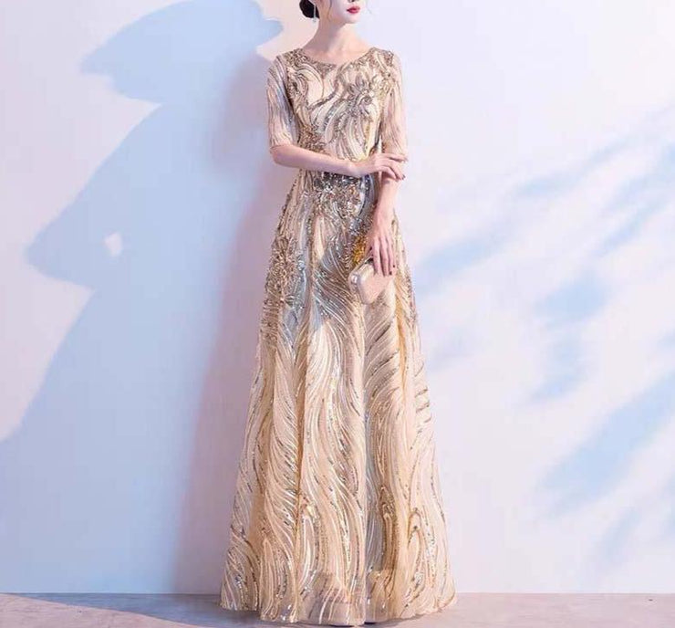 Mother of the Bride Dress [CUSTOM MADE] Beaded Gold Half Sleeves Dress
